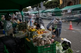 Women buy vegetables through a protective plastic due to COVID-19, in a street market in Barranco neighborhood, in Lima, Peru,…