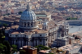 An aerial view of St .Peter's Basilica in this Aug. 14, 2004 photo. A 450-year-old receipt has provided proof that Michelangelo…
