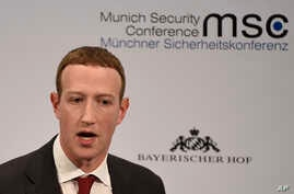 Facebook CEO Mark Zuckerberg speaks on the second day of the Munich Security Conference in Munich, Germany, Saturday, Feb. 15,…