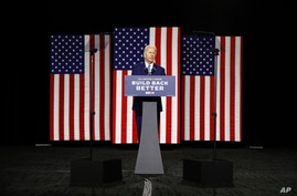 Democratic presidential candidate, former Vice President Joe Biden speaks during a campaign event, Tuesday, July 14, 2020, in…