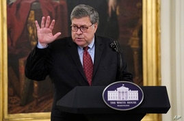 """Attorney General William Barr speaks during an event on """"Operation Legend: Combatting Violent Crime in American Cities,"""" in the…"""
