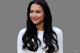 Naya Rivera headshot, actress, graphic element on gray