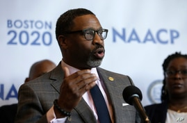 FILE - In this Thursday, Dec. 12, 2019 file photo, National Association for the Advancement of Colored People President Derrick…