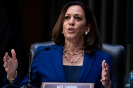 Sen. Kamala Harris, D-Calif., asks a question during a Senate Judiciary Committee hearing on police use of force and community…