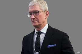 Tim Cook, as Apple CEO, graphic element on gray