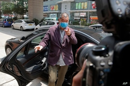 Hong Kong media tycoon and newspaper founder Jimmy Lai, arrives at a police station for report as a part of his bail condition…