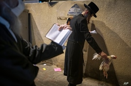 An ultra-Orthodox Jewish man holds a chicken as part of the Kaparot ritual, in Bnei Brak, Israel, Sunday, Sept. 27, 2020…
