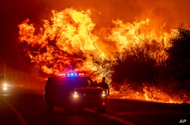 Flames lick above vehicles on Highway 162 as the Bear Fire burns in Oroville, Calif., on Wednesday, Sept. 9, 2020. The blaze,…