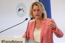 French Ecological Transition Minister Barbara Pompili during a press conference to present the government's recovery plan for…