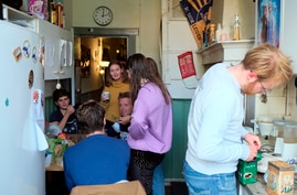 Dutch students chat in the kitchen of their shared house in Leiden, Netherlands on Friday, Sept. 25, 2020. The coronavirus…