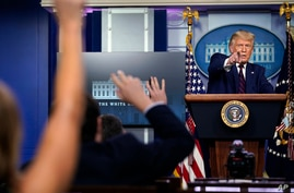 President Donald Trump takes questions as he speaks during a news conference in the James Brady Press Briefing Room at the…