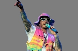 J Balvin performing, Colombian singer, graphic element on gray