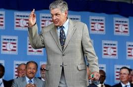 FILE - In this July 26, 2015, file photo, National Baseball Hall of Famer Tom Seaver arrives for an induction ceremony at the…