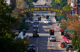 Light traffic moves along normally-congested Washington Street Wednesday, Sept. 30, 2020, in Golden, Colo. (AP Photo/David…