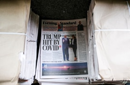 The front page of the Evening Standard displays the news of US President Donald Trump after he tested positive to Covid-19, in…