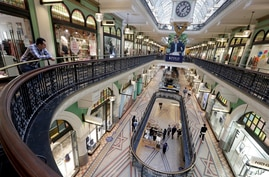 A shopping center is sparsely attended in Sydney, Wednesday, Sept. 2, 2020. Australia's economy has suffered its sharpest…