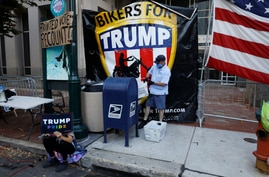 A postal worker collects mail from a mailbox inside the protest pen, as a handful of supporters of President Donald Trump…
