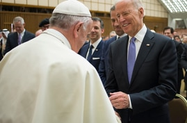 Pope Francis shakes hands with US vice president Joe Biden as he takes part at a congress on the progress of regenerative…