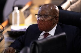 Former South African President Jacob Zuma appears at the hearing for his application for Deputy Chief Justice Raymond Zondo, to…
