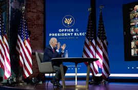 President-elect Joe Biden speaks during a meeting at The Queen theater Monday, Nov. 23, 2020, in Wilmington, Del. (AP Photo…