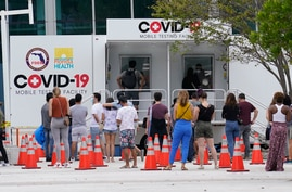 People line up at a COVID-19 rapid test site, Saturday, Nov. 7, 2020 in Miami Beach, Fla. According to an AP analysis of data…