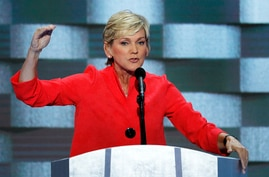 Former Michigan Gov. Jennifer Granholm speaks during the final day of the Democratic National Convention in Philadelphia ,…