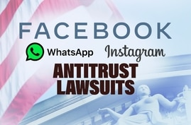 FACEBOOK, WhatsApp and Instagram logos, on texture with ANTITRUST LAWSUITS lettering, finished graphic