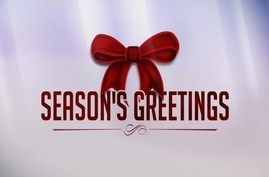 SEASONS GREETINGS lettering, with red bow, finished graphic