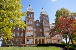 This is Old Main on the campus of Washington and Jefferson College in Washington, Pa, Thursday, Oct. 22, 2020. (AP Photo/Gene J…
