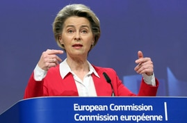 European Commission President Ursula von der Leyen speaks during a news conference on COVID-19 vaccination plan at the EU…
