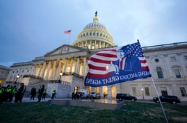 Trump supporters left a flag outside the Capitol, Wednesday evening, Jan. 6, 2021, in Washington. As Congress prepares to…