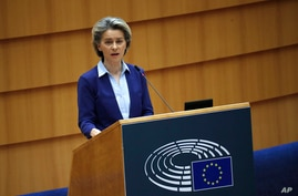 European Commission President Ursula von der Leyen speaks during a debate on the united EU approach to COVID-19 vaccinations at…