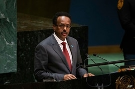 Somalia's President Mohamed Abdullahi Mohamed addresses the United Nations General Assembly at United Nations headquarters…