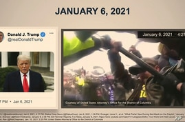 In this image from video, a video from Donald Trump is paired with police bay cam footage, as it is shown to senators as House…