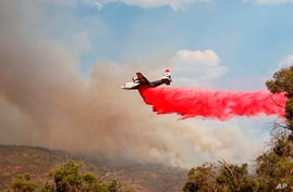 In this photo provided by the Department of Fire and Emergency Services, a firefighting plane dumps retardant on a fire near…