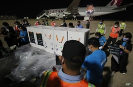 Workers move boxes loaded with COVID-19's vaccine before a handing over ceremony at Phnom Penh International Airport, in Phnom…