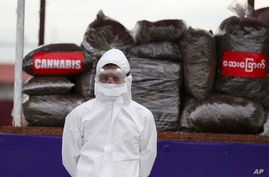 A police wearing a personal protective equipment stands in front of seized illegal drugs before being burnt during a…