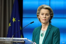 European Commission President Ursula von der Leyen listens to a question during an online news conference at the end of a EU…