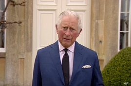 In this grab taken from video, Britain's Prince Charles addresses the media, outside Highgrove House in Gloucestershire,…