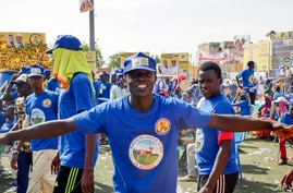 Supporters of Chadian President Idriss Deby Itno gather for a rally in N'djamena, Chad, Friday April 9, 2021. Deby is seeking…