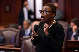 Florida Sen. Audrey Gibson speaks during a legislative session, Thursday, April 29, 2021, at the Capitol in Tallahassee, Fla. …