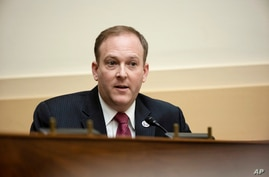 FILE - In this March 10, 2021 file photo, Rep. Lee Zeldin, R-N.Y., speaks during the House Committee on Foreign Affairs hearing…