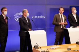 From left, Members of European Parliament, David McAllister, Andreas Schieder, Christophe Hansen and Bernd Lange participate in…