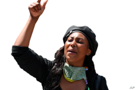 Sasha Johnson participates in a Black Lives Matter protest, Hyde Park, London, England, graphic element on gray
