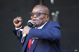 Former South African President Jacob Zuma, addresses supporters outside the High Court in Pietermaritzburg, South Africa,…