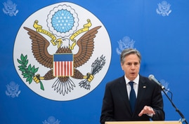 US Secretary of State Antony Blinken speaks to employees at the US Embassy in Reykjavik, Iceland, Tuesday, May 18, 2021. (Saul…