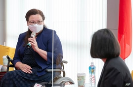 In this photo released by the Taiwan Presidential Office, U.S. Democratic Sen. Tammy Duckworth of Illinois speaks during a…