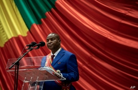 Central African Republic President Faustin-Archange Touadera delivers his speech during his inaugural ceremony in Bangui…