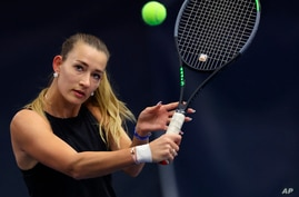 Russian Yana Sizikova poses for a photo during the Winter Moscow Open 2021 tennis tournament in Moscow, Russia, Wednesday, Feb…