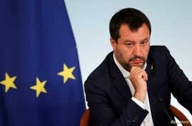 FILE PHOTO: Italian Deputy Prime Minister Matteo Salvini attends a news conference following a cabinet meeting in Rome
